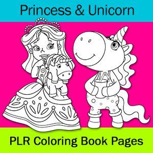 Princess & Unicorn Coloring Pages